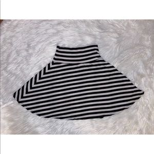 Black and White Striped Skater Skirt